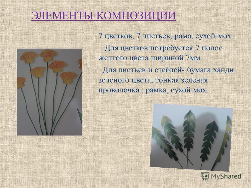 ЭЛЕМЕНТЫ КОМПОЗИЦИИ 7 цветков, 7 листьев, рама, сухой мох. Для цветков потребуется 7 полос желтого цвета шириной 7мм. Для листьев и стеблей- бумага ханди зеленого цвета, тонкая зеленая проволочка ; рамка, сухой мох.