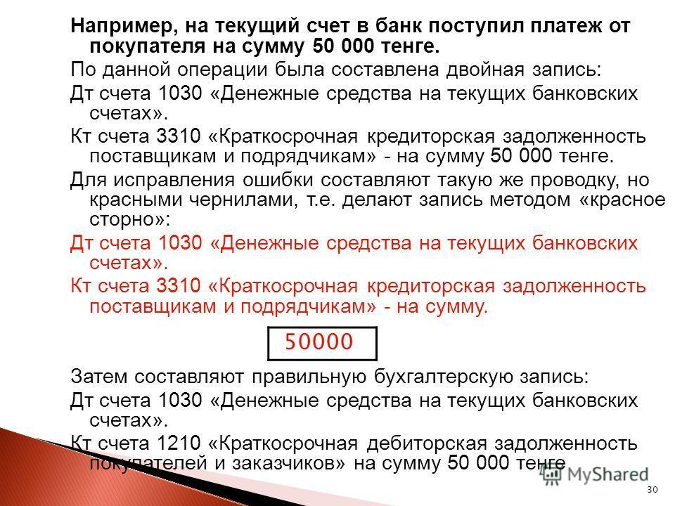 30 Например, на текущий счет в банк поступил платеж от покупателя на сумму 50 000 тенге. По данной операции была составлена двойная запись: Дт счета 1030 «Денежные средства на текущих банковских счетах». Кт счета 3310 «Краткосрочная кредиторская задо