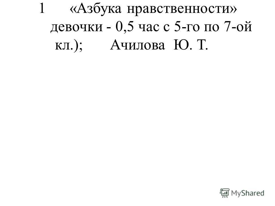 1 «Азбука нравственности» девочки - 0,5 час с 5-го по 7-ой кл.);Ачилова Ю. Т.