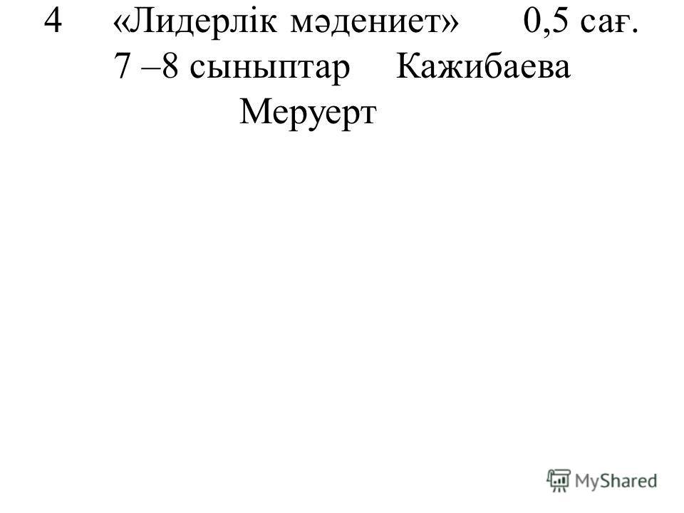 4«Лидерлік мәдениет»0,5 сағ. 7 –8 сыныптар Кажибаева Меруерт