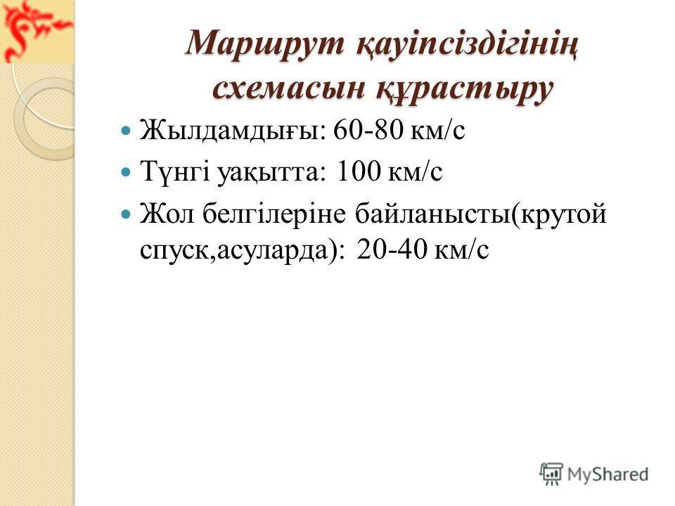 Маршрут қауіпсіздігінің схемасын құрастыру Жылдамдығы: 60-80 км/с Түнгі уақытта: 100 км/с Жол белгілеріне байланысты(крутой спуск,асуларда): 20-40 км/с