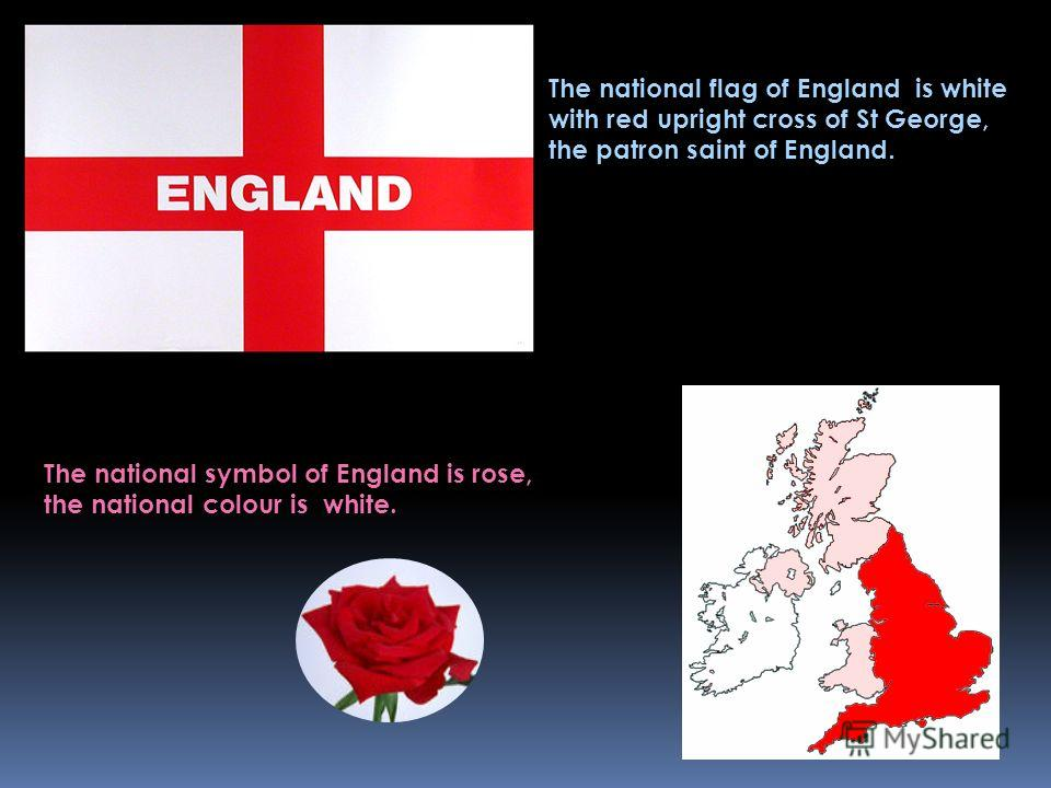 The national flag of England is white with red upright cross of St George, the patron saint of England. The national symbol of England is rose, the national colour is white.