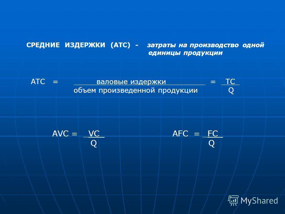 СРЕДНИЕ ИЗДЕРЖКИ (АТС) - затраты на производство одной единицы продукции АТС = валовые издержки________ = _ТС_ объем произведенной продукции Q АVC = _VC_ Q AFC = _FC_ Q