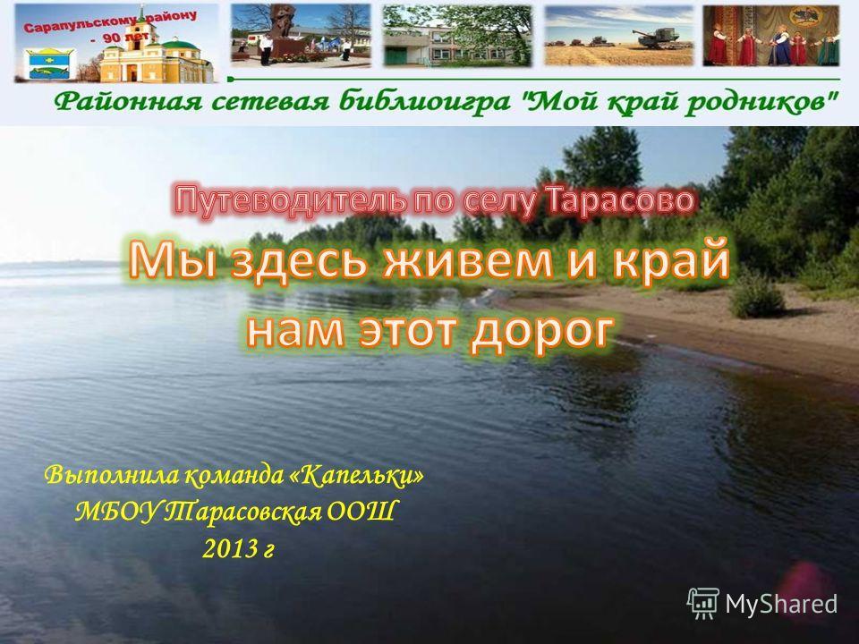 Выполнила команда «Капельки» МБОУ Тарасовская ООШ 2013 г
