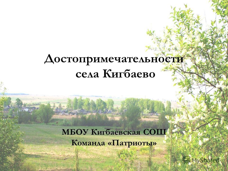 Достопримечательности села Кигбаево МБОУ Кигбаевская СОШ Команда «Патриоты»