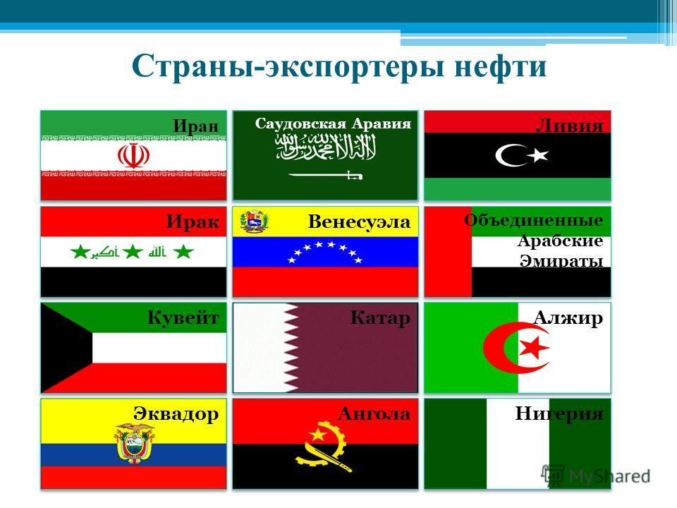 Страны-экспортеры нефти Ангола Нигерия Эквадор Объединенные Арабские Эмираты Алжир Ливия Катар Венесуэла Саудовская Аравия Кувейт Ирак Иран