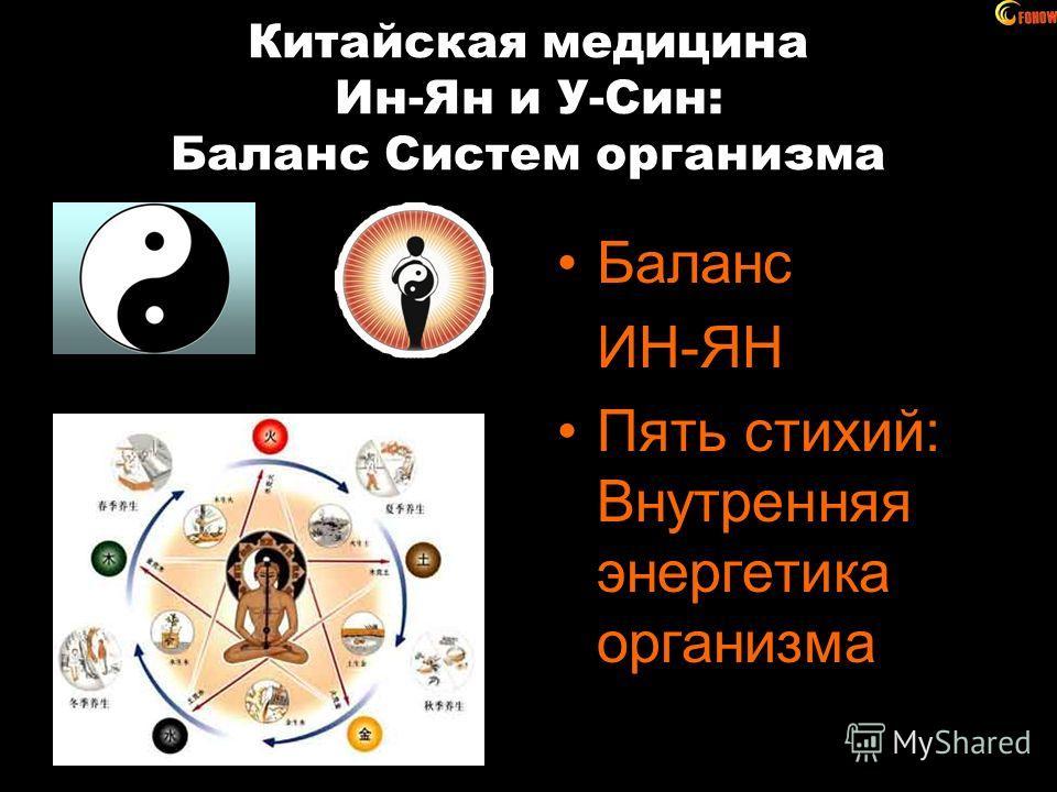Китайская медицина Ин-Ян и У-Син: Баланс Систем организма Баланс ИН-ЯН Пять стихий: Внутренняя энергетика организма