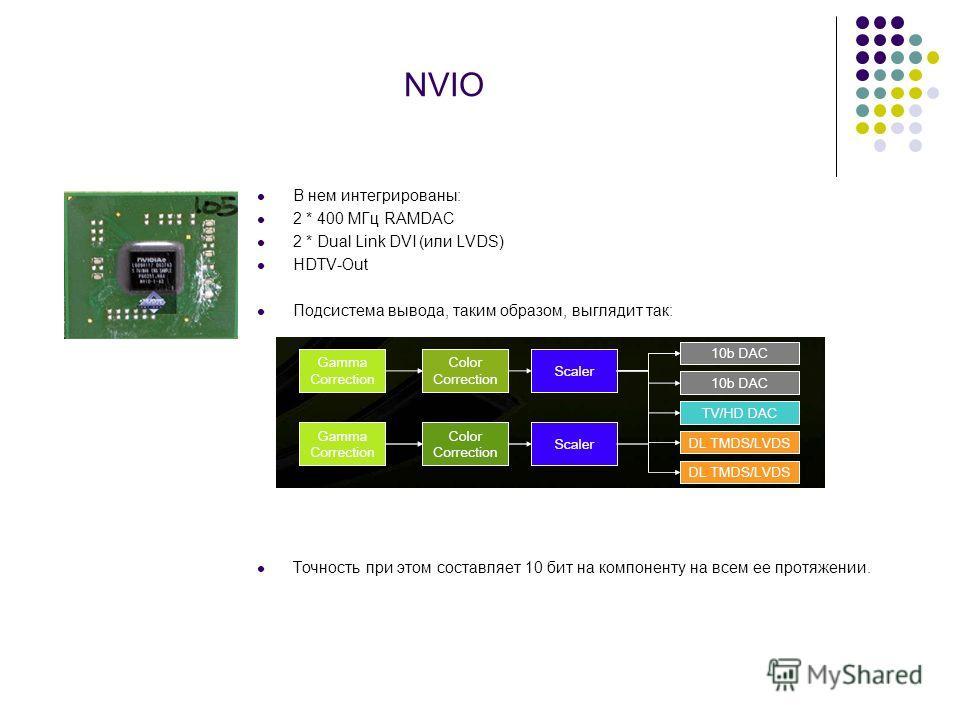 NVIO В нем интегрированы: 2 * 400 МГц RAMDAC 2 * Dual Link DVI (или LVDS) HDTV-Out Подсистема вывода, таким образом, выглядит так: Точность при этом составляет 10 бит на компоненту на всем ее протяжении.
