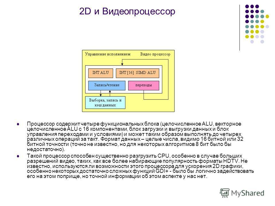 2D и Видеопроцессор Процессор содержит четыре функциональных блока (целочисленное ALU, векторное целочисленное ALU с 16 компонентами, блок загрузки и выгрузки данных и блок управления переходами и условиями) и может таким образом выполнять до четырех