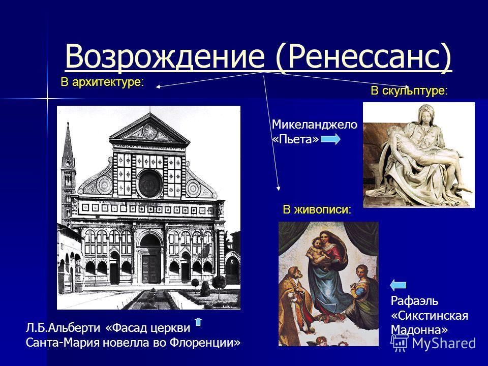 Возрождение (Ренесcанс) Микеланджело «Пьета» Рафаэль «Сикстинская Мадонна» Л.Б.Альберти «Фасад церкви Санта-Мария новелла во Флоренции» В архитектуре: В живописи: В скульптуре: