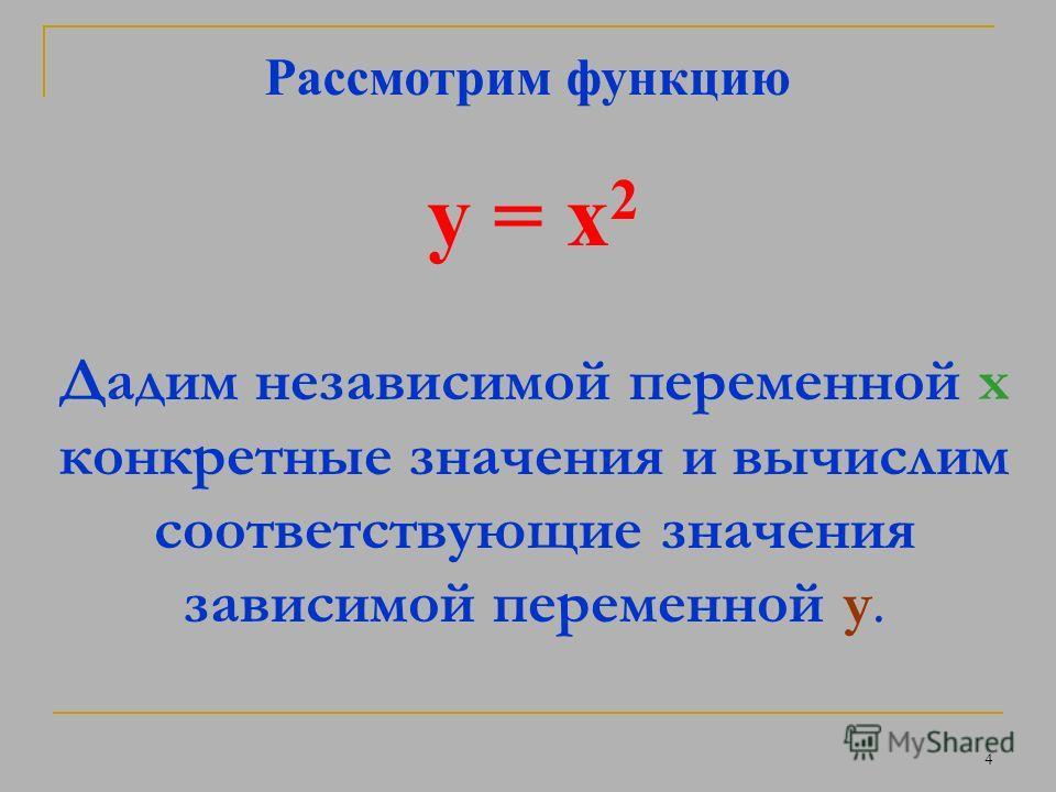 3 Рассмотрим математическую модель x – сторона квадрата y – его площадь, тогда y = x 2 X – независимая переменная y – зависимая переменная