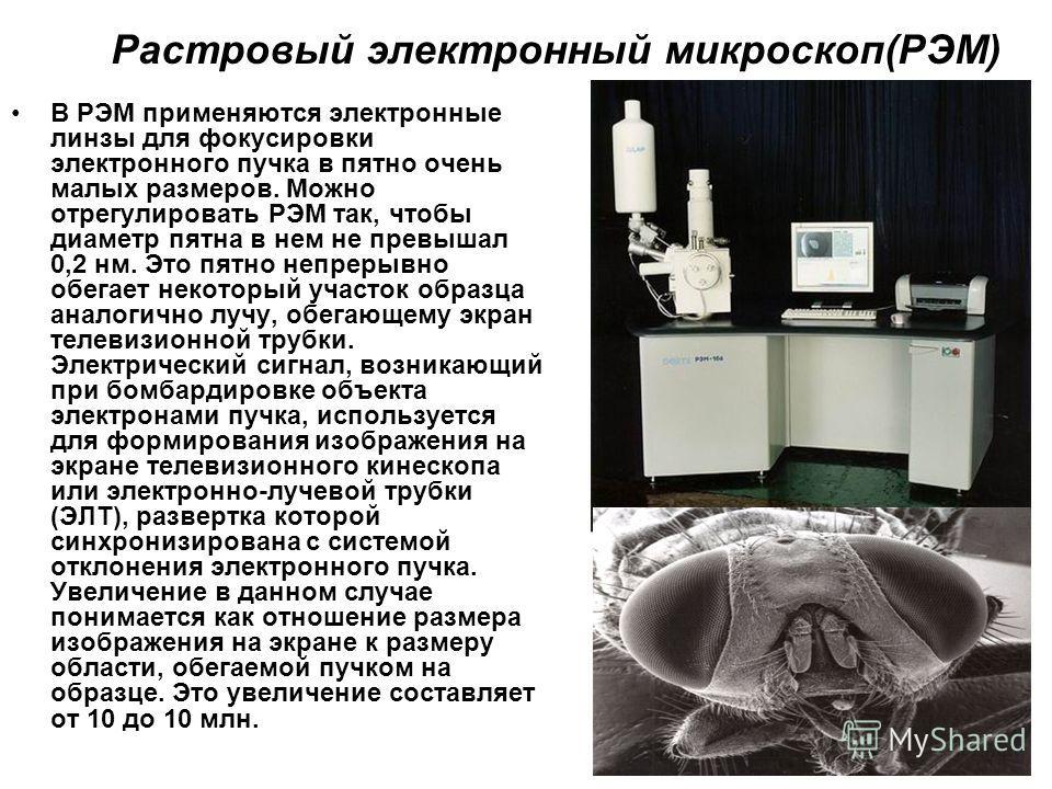 Растровый электронный микроскоп(РЭМ) В РЭМ применяются электронные линзы для фокусировки электронного пучка в пятно очень малых размеров. Можно отрегулировать РЭМ так, чтобы диаметр пятна в нем не превышал 0,2 нм. Это пятно непрерывно обегает некотор