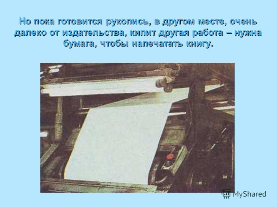 Но пока готовится рукопись, в другом месте, очень далеко от издательства, кипит другая работа – нужна бумага, чтобы напечатать книгу.