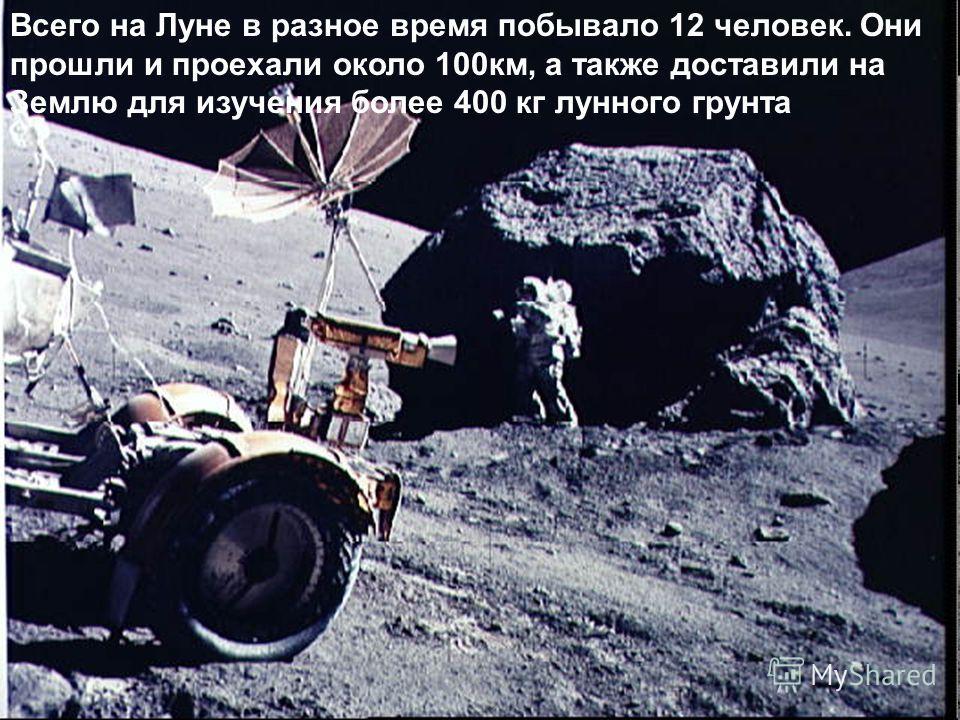20 июля 1969 года на Луне побывал первый человек – американский астронавт Нил Армстронг Всего на Луне в разное время побывало 12 человек. Они прошли и проехали около 100км, а также доставили на Землю для изучения более 400 кг лунного грунта