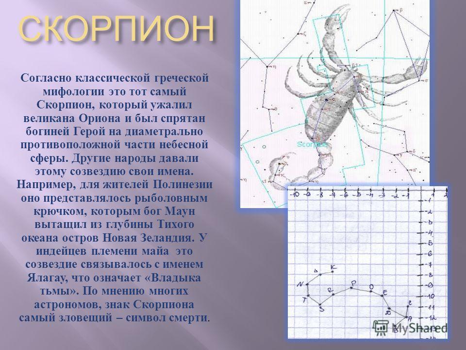 Согласно классической греческой мифологии это тот самый Скорпион, который ужалил великана Ориона и был спрятан богиней Герой на диаметрально противоположной части небесной сферы. Другие народы давали этому созвездию свои имена. Например, для жителей