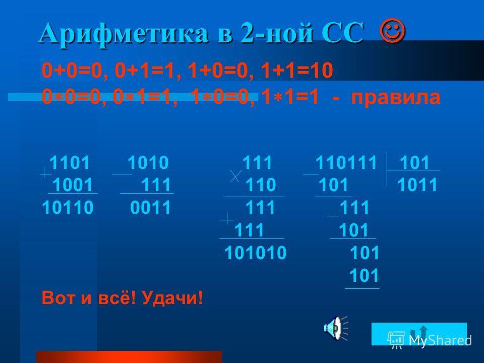 Арифметика в 2-ной СС Арифметика в 2-ной СС 0+0=0, 0+1=1, 1+0=0, 1+1=10 0 0=0, 0 1=1, 1 0=0, 1 1=1 - правила 1101 1010 111 110111 101 1001 111 110 101 1011 10110 0011 111 111 111 101 101010 101 101 Вот и всё! Удачи! Вот и всё!
