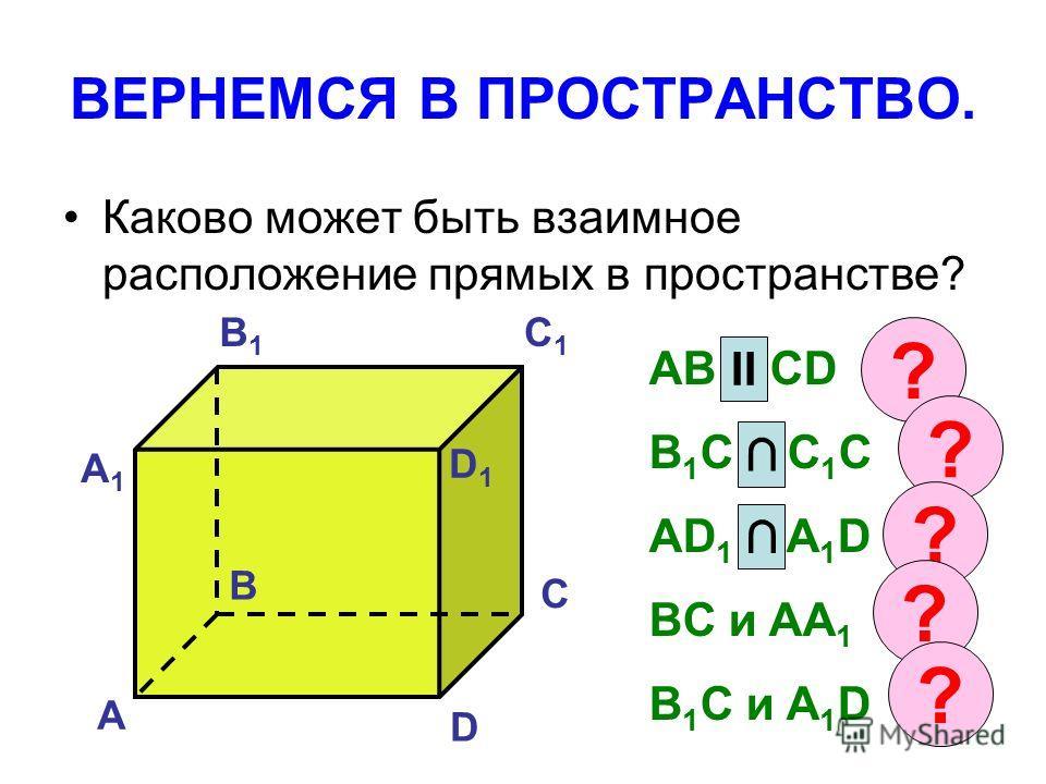 ВЕРНЕМСЯ В ПРОСТРАНСТВО. Каково может быть взаимное расположение прямых в пространстве? А B C D А1А1 B1B1 C1C1 D1D1 AB и CD B 1 C и C 1 C AD 1 и A 1 D BC и AA 1 B 1 C и A 1 D II ? ? ? ? ?