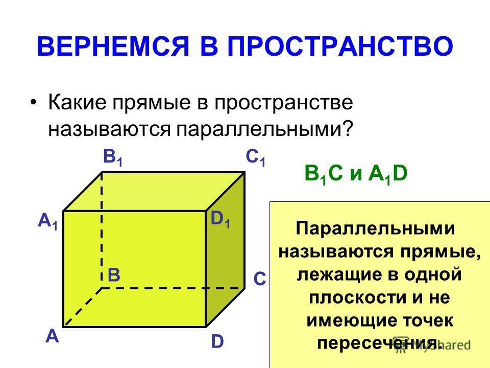 ВЕРНЕМСЯ В ПРОСТРАНСТВО Какие прямые в пространстве называются параллельными? А B C D А1А1 B1B1 C1C1 D1D1 B 1 C и A 1 D Параллельными называются прямые, лежащие в одной плоскости и не имеющие точек пересечения.