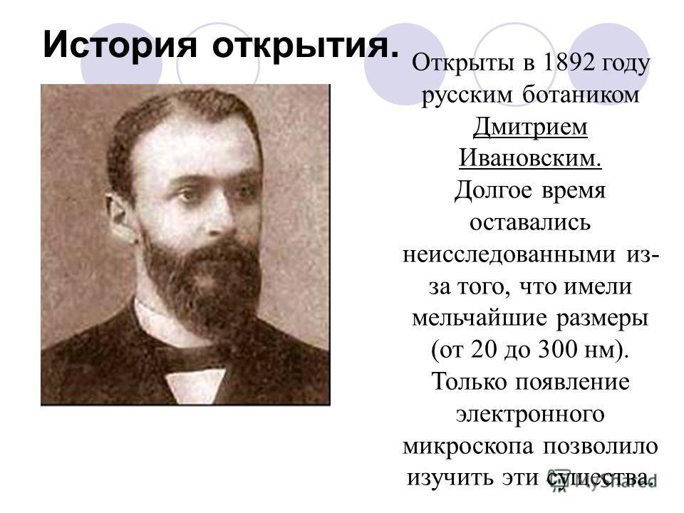 История открытия. Открыты в 1892 году русским ботаником Дмитрием Ивановским. Долгое время оставались неисследованными из- за того, что имели мельчайшие размеры (от 20 до 300 нм). Только появление электронного микроскопа позволило изучить эти существа