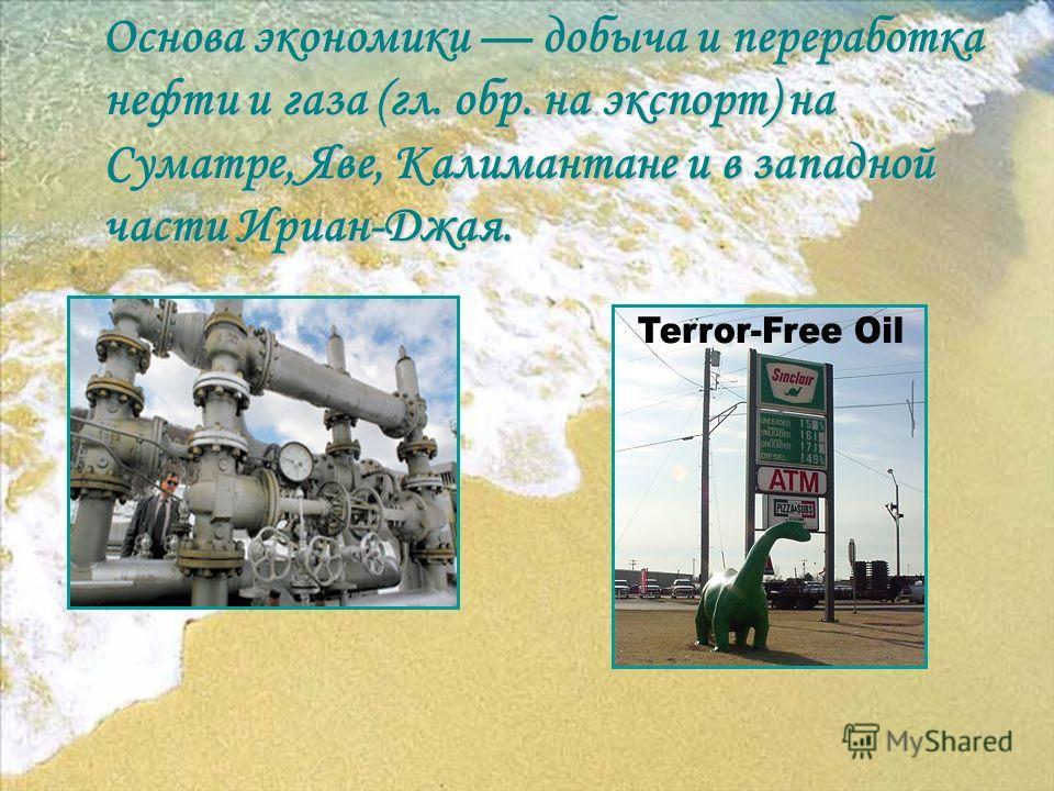 О снова экономики добыча и переработка нефти и газа (гл. обр. на экспорт) на Суматре, Яве, Калимантане и в западной части Ириан-Джая.