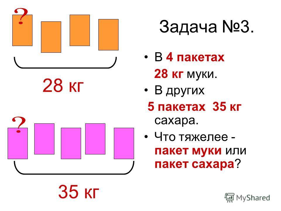 Задача 3. В 4 пакетах 28 кг муки. В других 5 пакетах 35 кг сахара. Что тяжелее - пакет муки или пакет сахара? 28 кг 35 кг