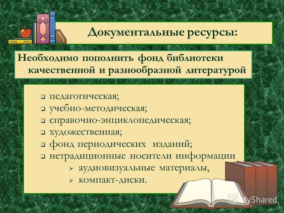 Документальные ресурсы: педагогическая; учебно-методическая; справочно-энциклопедическая; художественная; фонд периодических изданий; нетрадиционные носители информации аудиовизуальные материалы, компакт-диски. Необходимо пополнить фонд библиотеки ка