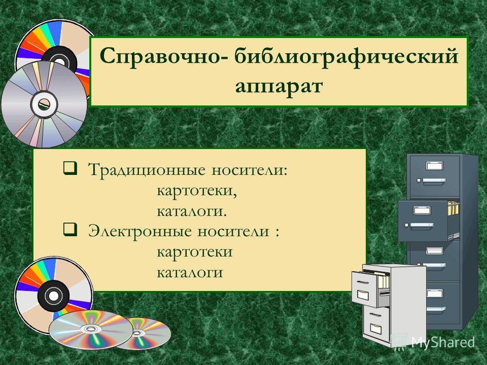 Справочно- библиографический аппарат Традиционные носители: картотеки, каталоги. Электронные носители : картотеки каталоги