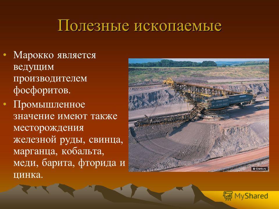 Полезные ископаемые Марокко является ведущим производителем фосфоритов. Промышленное значение имеют также месторождения железной руды, свинца, марганца, кобальта, меди, барита, фторида и цинка.