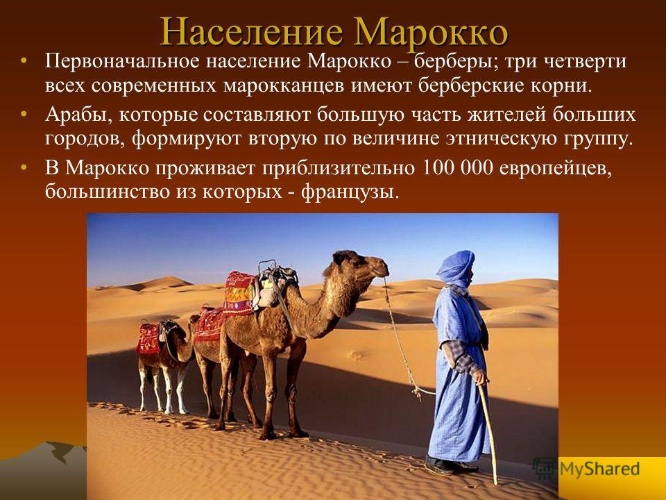 Население Марокко Первоначальное население Марокко – берберы; три четверти всех современных марокканцев имеют берберские корни. Арабы, которые составляют большую часть жителей больших городов, формируют вторую по величине этническую группу. В Марокко