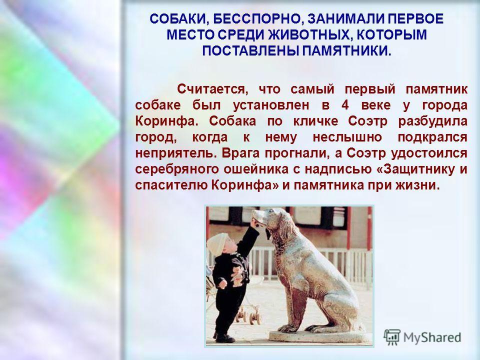 ЧУВАШСКАЯ РЕСПУБЛИКА, г. ШУМЕРЛЯ, МОУ «СОШ 2» СОБАКИ, БЕССПОРНО, ЗАНИМАЛИ ПЕРВОЕ МЕСТО СРЕДИ ЖИВОТНЫХ, КОТОРЫМ ПОСТАВЛЕНЫ ПАМЯТНИКИ. Считается, что самый первый памятник собаке был установлен в 4 веке у города Коринфа. Собака по кличке Соэтр разбудил