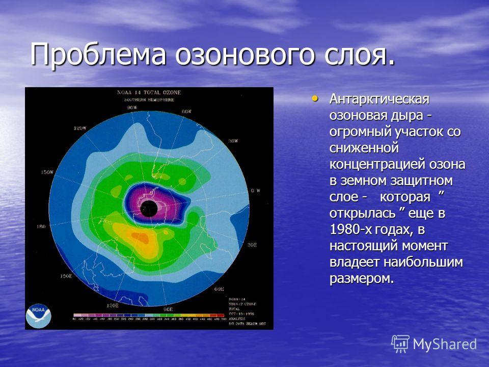 Проблема озонового слоя. Антарктическая озоновая дыра - огромный участок со сниженной концентрацией озона в земном защитном слое - которая открылась еще в 1980-х годах, в настоящий момент владеет наибольшим размером. Антарктическая озоновая дыра - ог