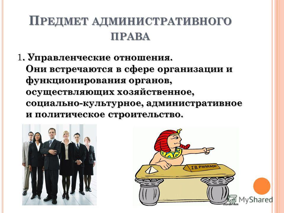 П РЕДМЕТ АДМИНИСТРАТИВНОГО ПРАВА. Управленческие отношения. Они встречаются в сфере организации и функционирования органов, осуществляющих хозяйственное, социально-культурное, административное и политическое строительство. 1. Управленческие отношения