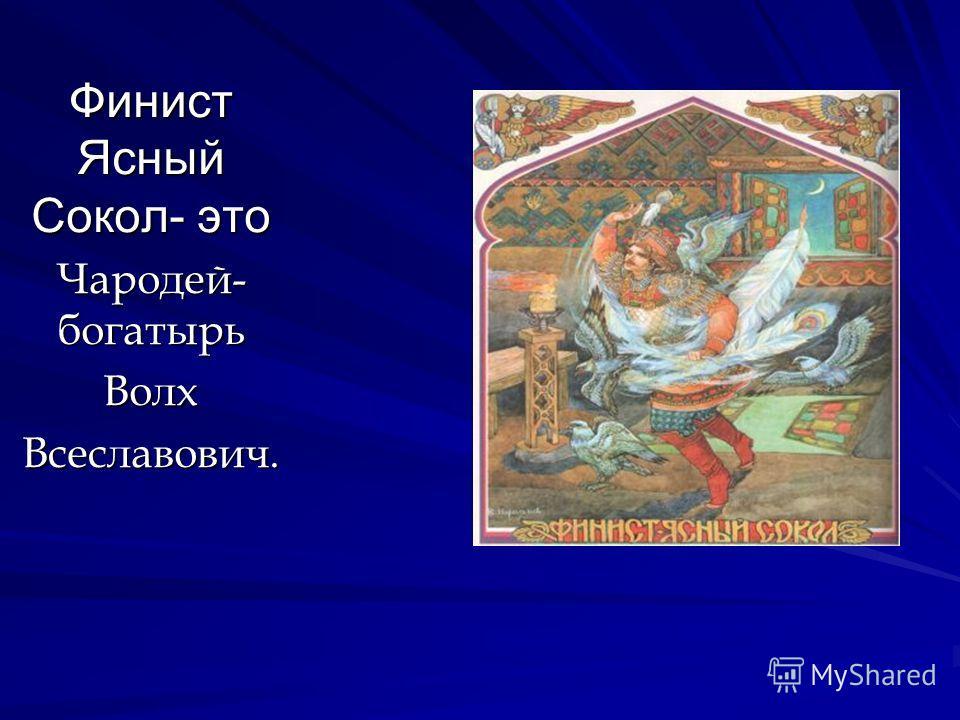 Финист Ясный Сокол- это Чародей- богатырь ВолхВсеславович.