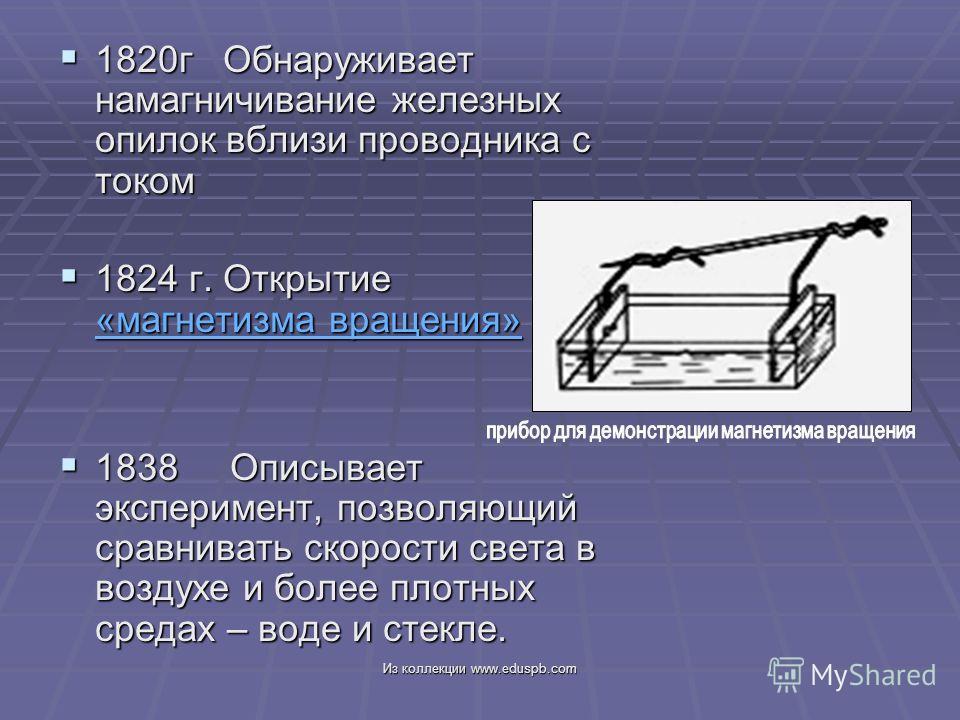 1820г Обнаруживает намагничивание железных опилок вблизи проводника с током 1820г Обнаруживает намагничивание железных опилок вблизи проводника с током 1824 г. Открытие «магнетизма вращения» 1824 г. Открытие «магнетизма вращения» «магнетизма вращения
