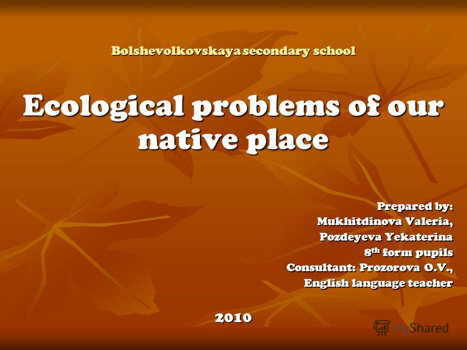 Bolshevolkovskaya secondary school Ecological problems of our native place Prepared by: Mukhitdinova Valeria, Pozdeyeva Yekaterina 8 th form pupils Consultant: Prozorova O.V., English language teacher 2010