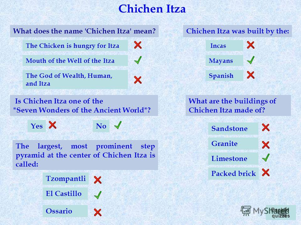 Chichen Itza What does the name 'Chichen Itza' mean? The Chicken is hungry for Itza The God of Wealth, Human, and Itza Mouth of the Well of the Itza Is Chichen Itza one of the