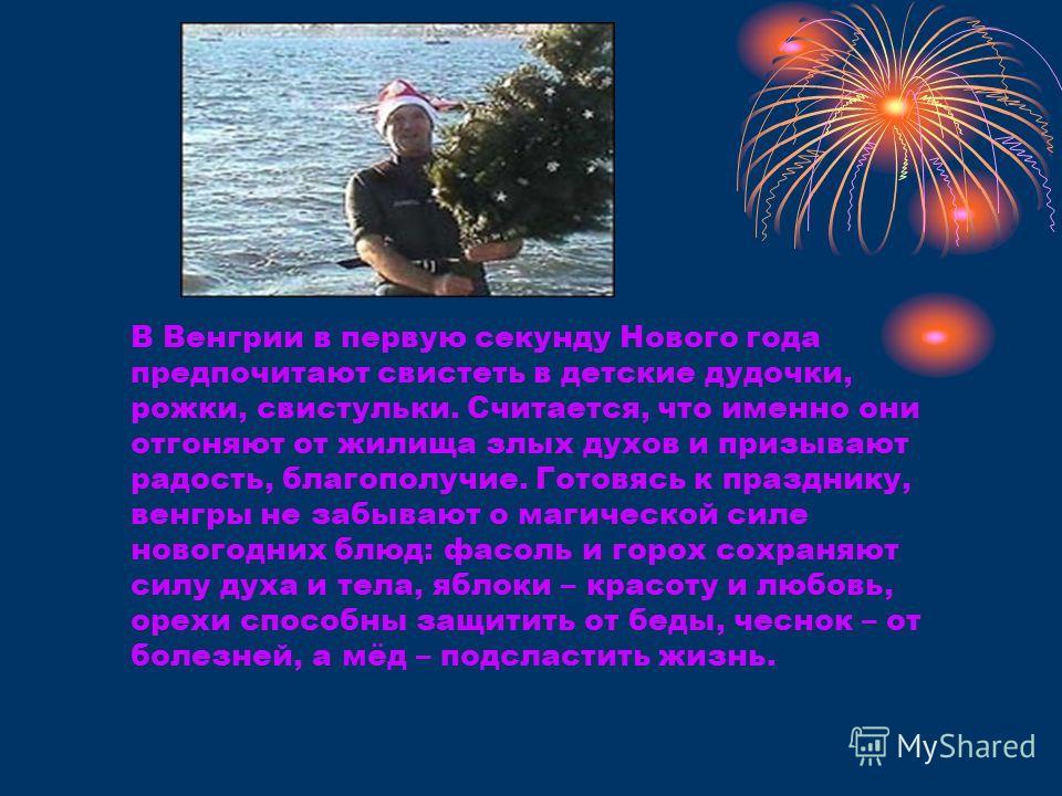 В Венгрии в первую секунду Нового года предпочитают свистеть в детские дудочки, рожки, свистульки. Считается, что именно они отгоняют от жилища злых духов и призывают радость, благополучие. Готовясь к празднику, венгры не забывают о магической силе н