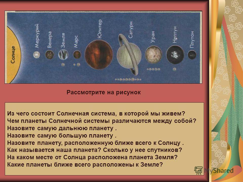Рассмотрите на рисунок Из чего состоит Солнечная система, в которой мы живем? Чем планеты Солнечной системы различаются между собой? Назовите самую дальнюю планету. Назовите самую большую планету. Назовите планету, расположенную ближе всего к Солнцу.