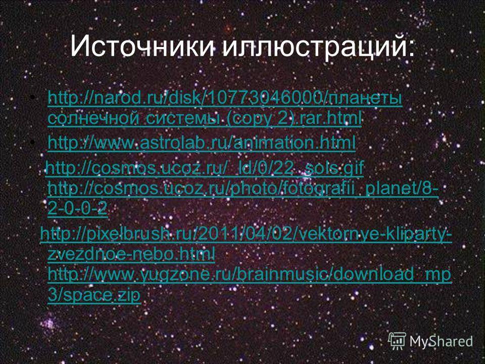 http://narod.ru/disk/10773046000/планеты солнечной системы (copy 2).rar.htmlhttp://narod.ru/disk/10773046000/планеты солнечной системы (copy 2).rar.html http://www.astrolab.ru/animation.html http://cosmos.ucoz.ru/_ld/0/22_sols.gif http://cosmos.ucoz.