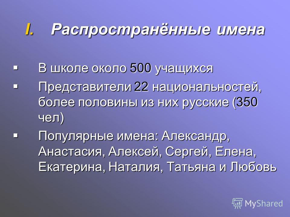 I.Распространённые имена В школе около 500 учащихся В школе около 500 учащихся Представители 22 национальностей, более половины из них русские (350 чел) Представители 22 национальностей, более половины из них русские (350 чел) Популярные имена: Алекс