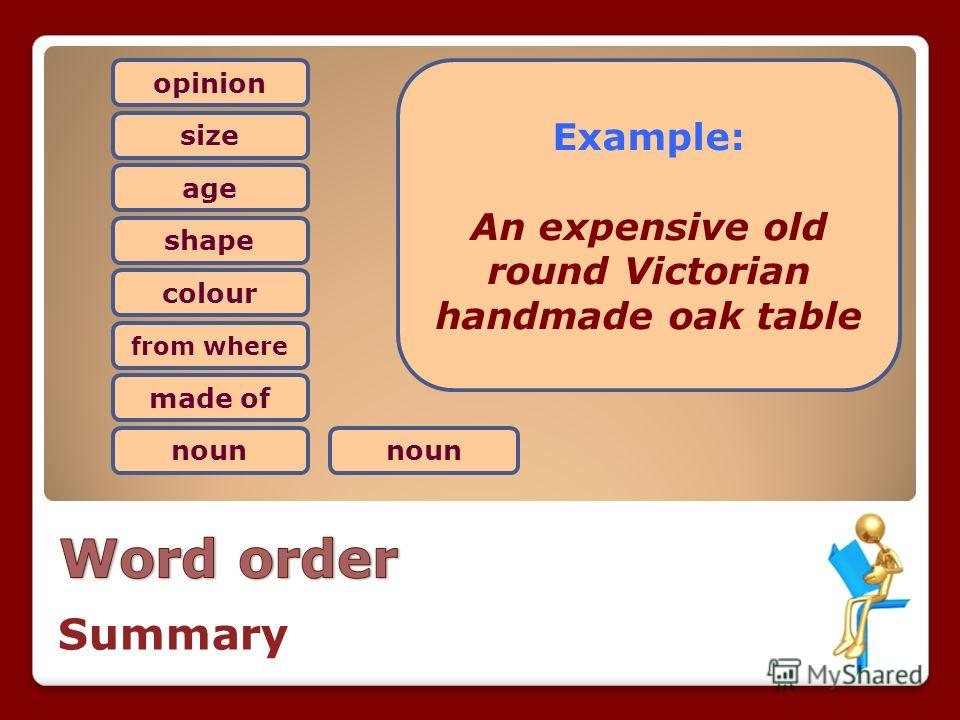 opinion size age shape colour from where made of noun Example: An expensive old round Victorian handmade oak table Summary