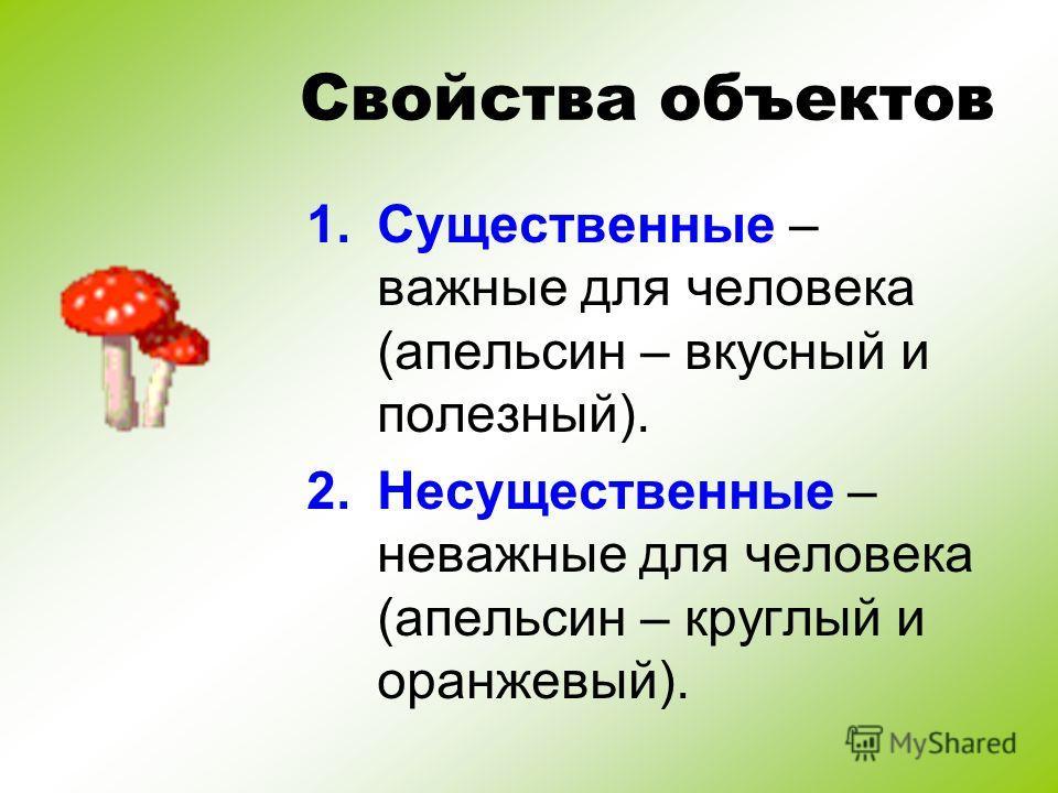 Свойства объектов 1.Существенные – важные для человека (апельсин – вкусный и полезный). 2.Несущественные – неважные для человека (апельсин – круглый и оранжевый).