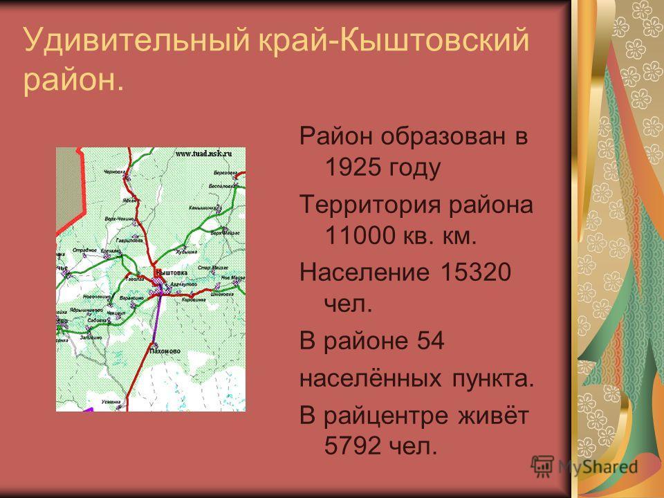 Удивительный край-Кыштовский район. Район образован в 1925 году Территория района 11000 кв. км. Население 15320 чел. В районе 54 населённых пункта. В райцентре живёт 5792 чел.