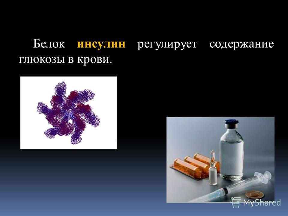 Белок инсулин регулирует содержание глюкозы в крови.
