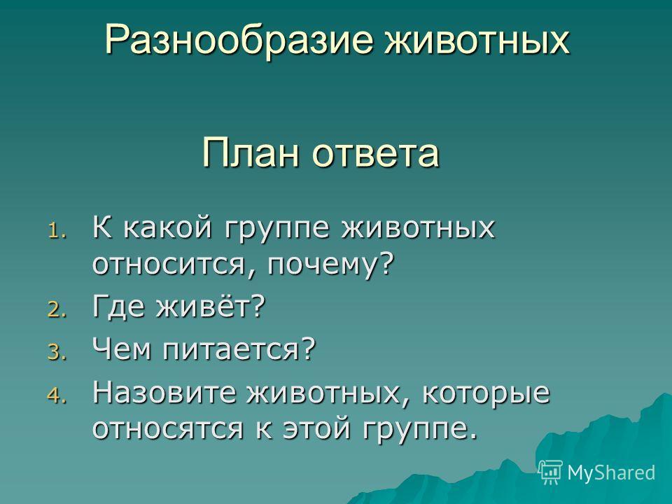 План ответа 1. К какой группе животных относится, почему? 2. Где живёт? 3. Чем питается? 4. Назовите животных, которые относятся к этой группе. Разнообразие животных