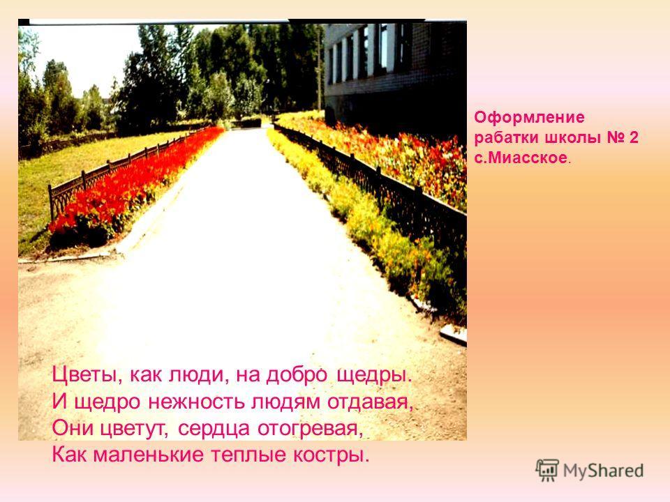 Оформление рабатки школы 2 с.Миасское. Цветы, как люди, на добро щедры. И щедро нежность людям отдавая, Они цветут, сердца отогревая, Как маленькие теплые костры.