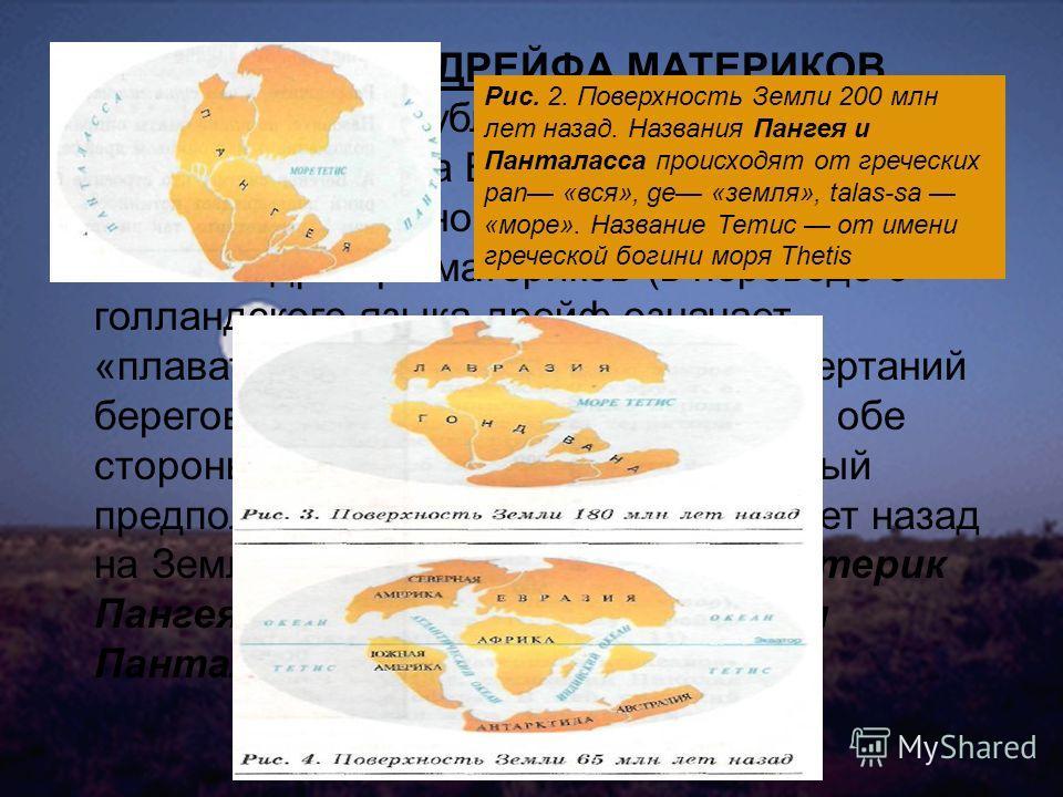 ГИПОТЕЗА ДРЕЙФА МАТЕРИКОВ В 1915 г. была опубликована книга немецкого ученого Альфреда Вегенера «Происхождение материков и океанов». В ней была высказана гипотеза дрейфа материков (в переводе с голландского языка дрейф означает «плавать»). Опираясь н