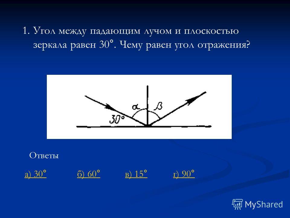 1.Угол между падающим лучом и плоскостью зеркала равен 30°. Чему равен угол отражения? Ответы г) 90°а) 30°б) 60°в) 15°