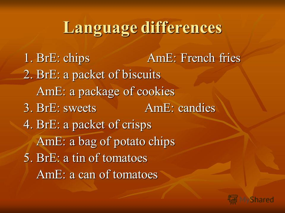 Language differences 1. BrE: chips AmE: French fries 1. BrE: chips AmE: French fries 2. BrE: a packet of biscuits 2. BrE: a packet of biscuits AmE: a package of cookies AmE: a package of cookies 3. BrE: sweets AmE: candies 3. BrE: sweets AmE: candies