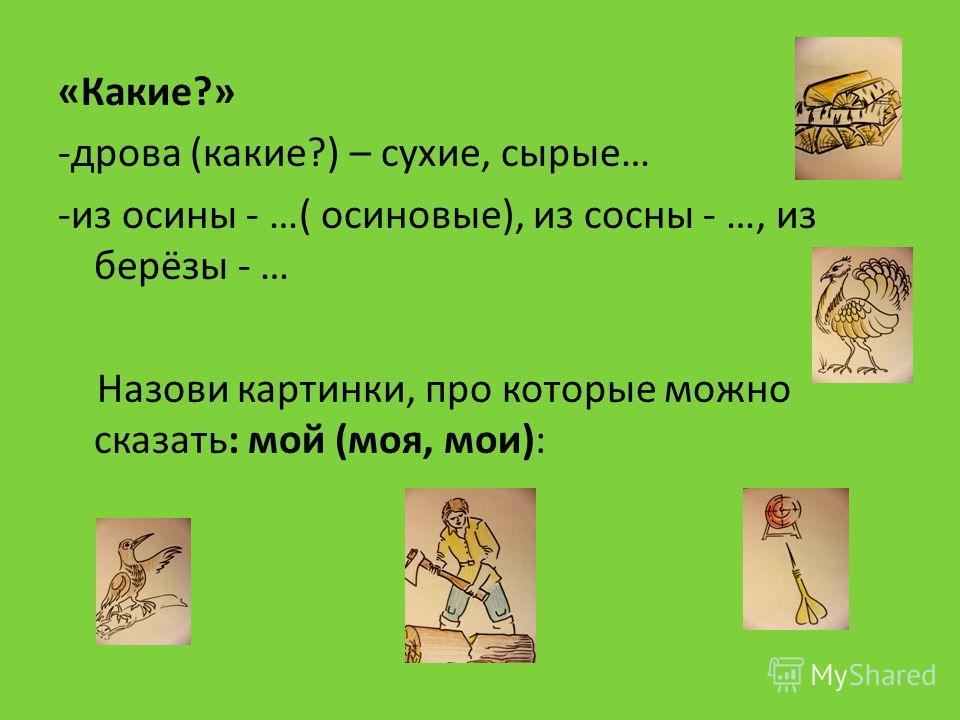 «Какие?» -дрова (какие?) – сухие, сырые… -из осины - …( осиновые), из сосны - …, из берёзы - … Назови картинки, про которые можно сказать: мой (моя, мои):